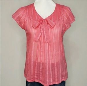 🌻3 for $18 Pink Bow Blouse Top Banana Republic